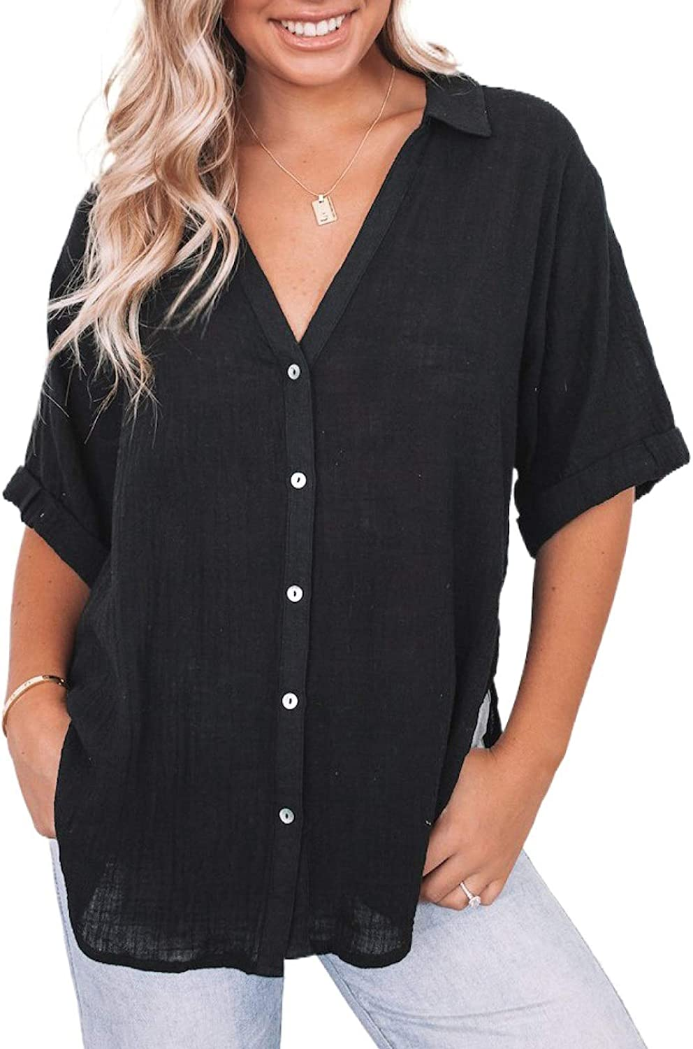 Ecrocoo Women's V Neck Short Sleeve Blouses Casual Summer Solid Color Button Down Shirts Tops