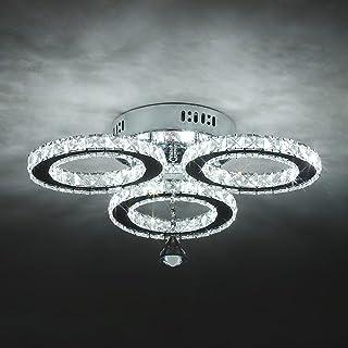 Plafonnier LED en Cristal Moderne, 30W 6000K Diamond Lustres en Cristal, Luminaire Design Plafonnier avec 3 anneaux en cri...