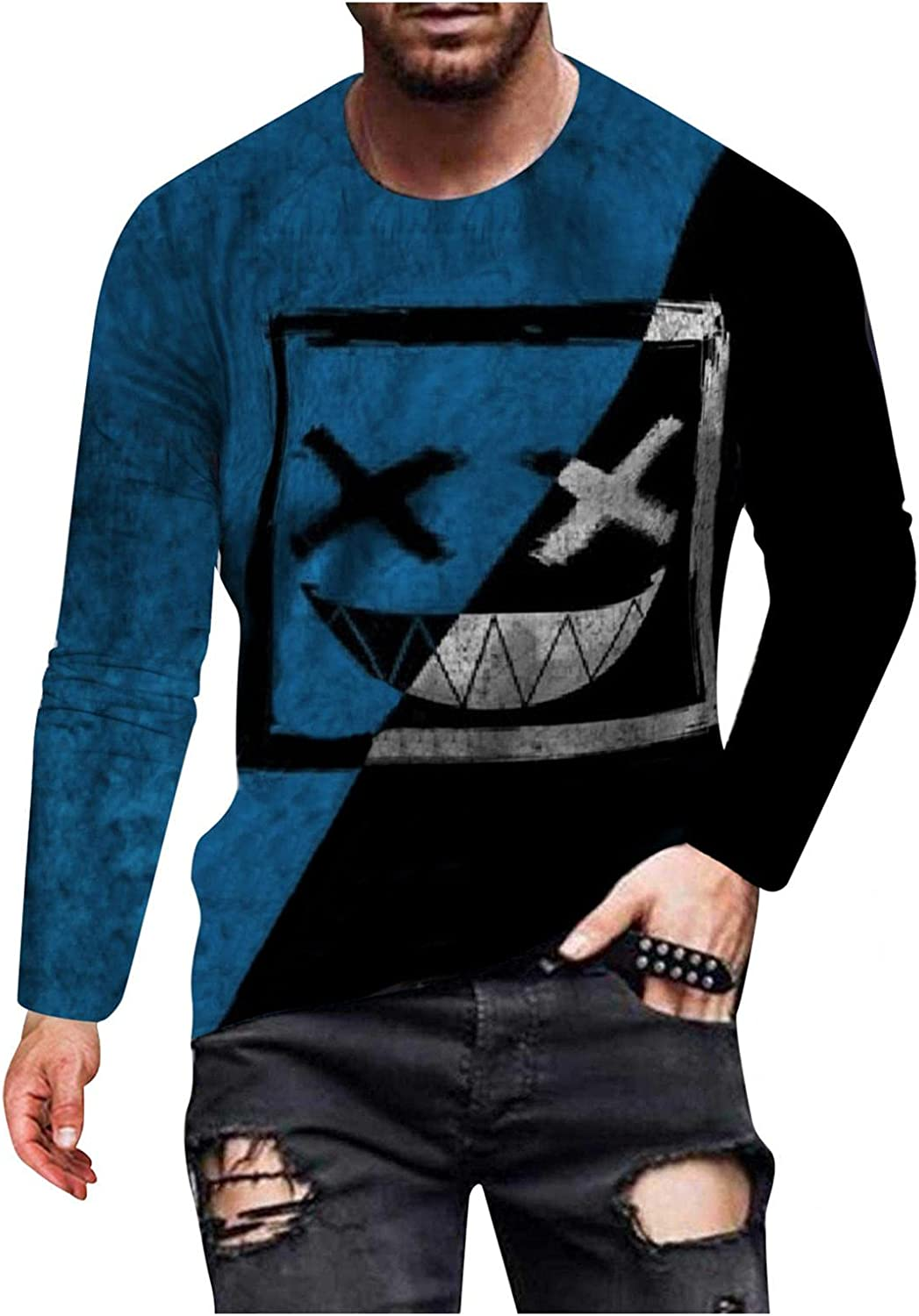 Tops for Men Novelty 3D Print Graphic Shirts Long Sleeve Crewneck Pullover Sweatershirt Lightweight Breathable Blouse