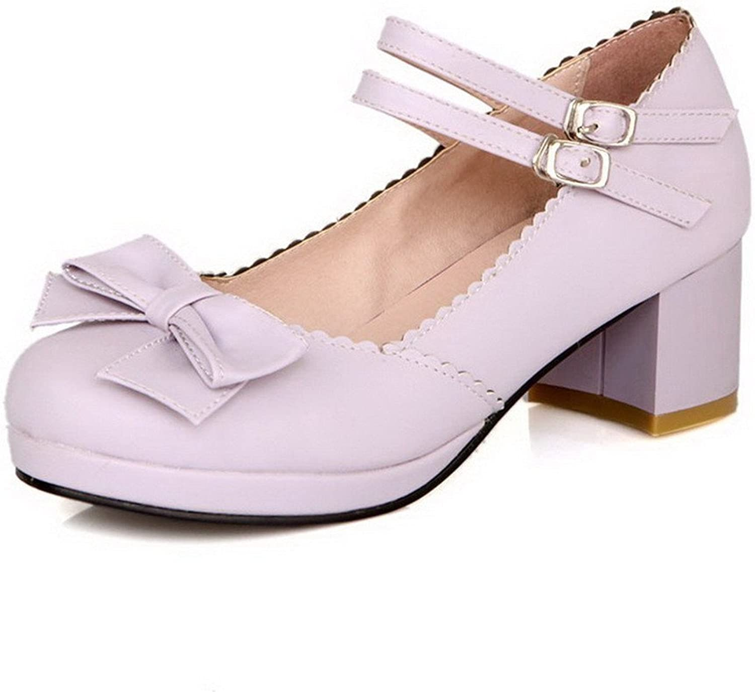 WANabcMAN Comfortable Women's Buckle Kitten Heels Pu Solid Round Closed Toe Pumps-shoes