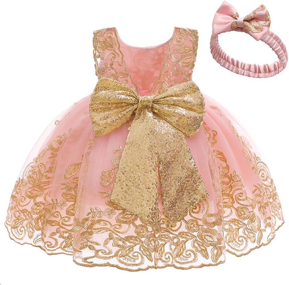 FYMNSI Baby Mädchen Geburtstag Partykleid Taufkleid Rückenfrei Stickerei Ärmellos Abendkleid Formal Festkleid mit Stirnband