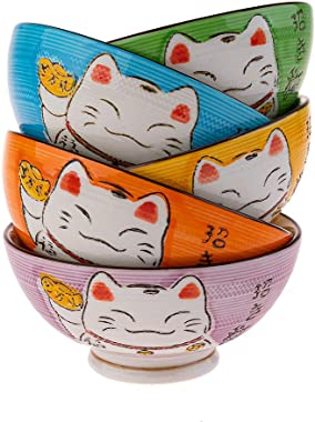 lachineuse Coffret 5 Bols Japonais Colores - Motifs Chat Maneki Neko