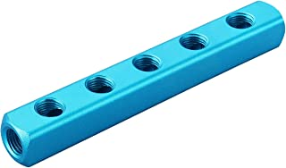 "Baomain Manifold Block Pneumatic 5 Way 8 Port 1/4"" PT Threaded Ports Quick Connect Air Hose Inline"
