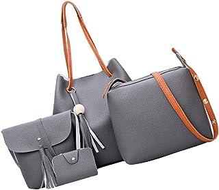 Sharplace 4 teiliges Fashion Damenhandtasche Damen Handtaschen mit Perlen-Anhänger Schultertasche PU Lederhandtasche Frauen Schulter Beuteltote Set