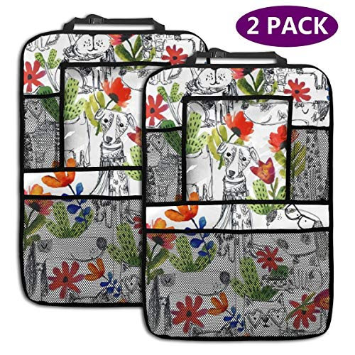 "Dog Days Best 2 Pack Car Backseat Organizer 4 Storage Pockets Seat Back with 9.5"" Tablet Holder Protectors Kick Mats for Kids Toddlers, Travel Accessories"