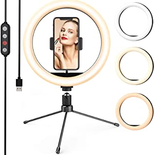 10-inch Led Ring Light with Tripod Stand & 2 Phone Holder,LETSCOM Dimmable Desk Selfie Ringlight for Makeup YouTube Video ...