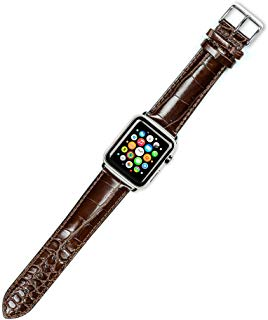 Debeer Replacement Watch Band - Crocodile Grain - [Short Length] - Brown - Fits 42mm Apple Watch [Silver Adapters]