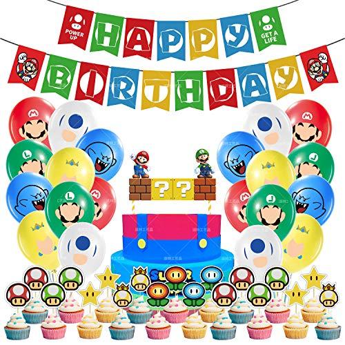 Mario Party Supplies 47 piezas - Banner de feliz cumpleaños, globos de cumpleaños de Super Mario Bros y adornos para cupcakes, kit de decoración de fiesta de Mario