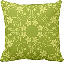 Floral Design Green Two Tone Flower Pattern Square Vintage Decorative Throw Pillow Cases Cushion Covers With Zippered, 20X20 Inch