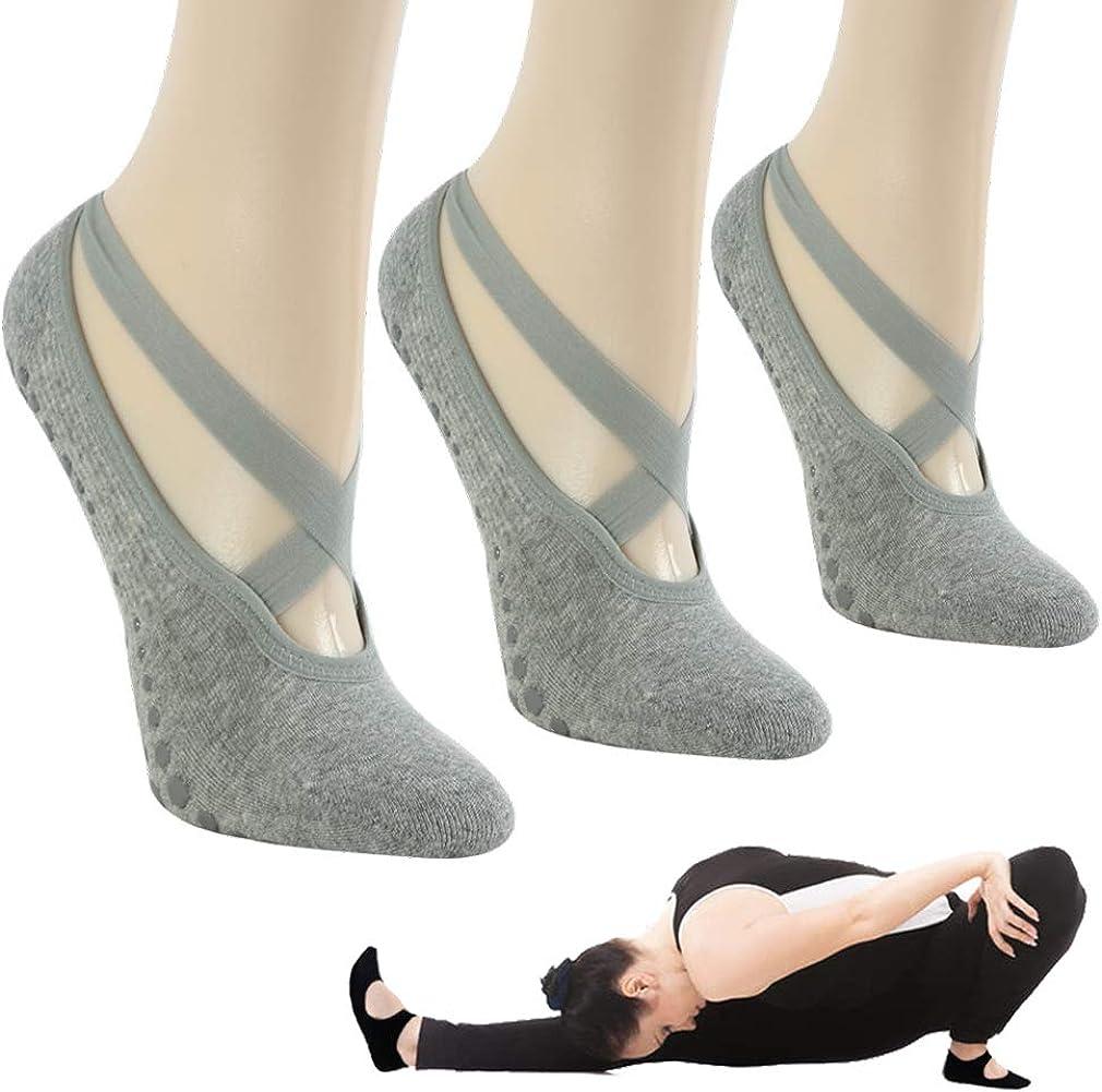 Gmall Yoga Socks for Women,Non Slip Yoga Socks Pilates Grip Socks Anti-Skid Socks for Pure Barre Ballet Dance
