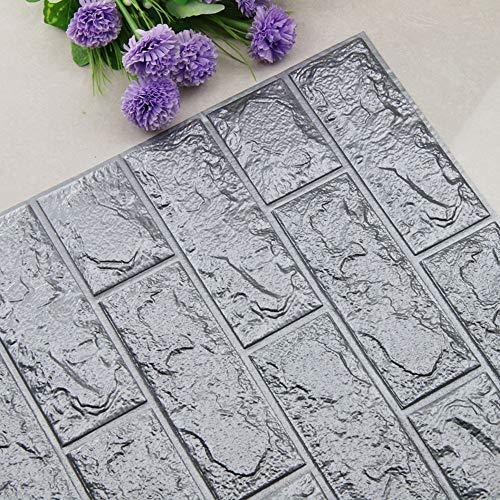 Foam 3D Wallpaper, PE Schaum Fliesen Wandaufkleber 3D-Tapete Foam Wall Stickers 3D Patterns Wallpaper Mauer Relief Steine DIY Aufkleber Wand Dekor 70 cm x 77 cm (M)