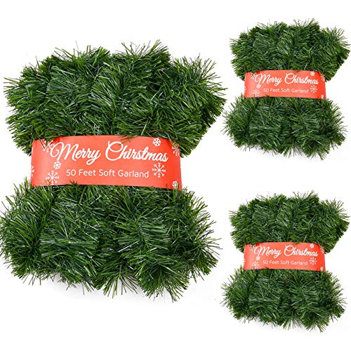 3 Pack 50 Feet Christmas Garland for Outdoor/Indoor Decoration, Soft Greenery Artificial Garland Decorations, Non-lit Green Xmas Garlands Perfect for Party Home Garden and Holiday Festival Decor