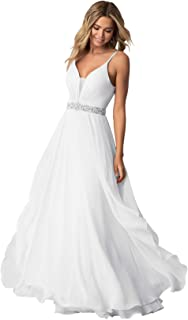 Zhongde Women's Spaghetti Straps Ruched Chiffon Long Bridesmaid Dress V-Neck Formal Evening Gown