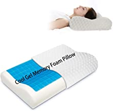 Memory Foam Pillow Cervical Contour Bed Pillowcase Cool Gel Neck Orthopedic Pillow with Removable Washable Cover for Thera...