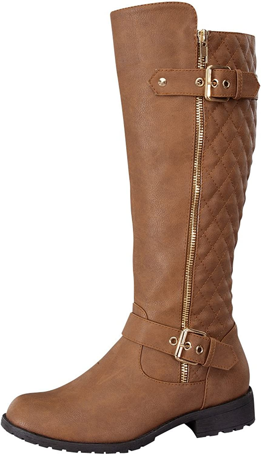 Top Moda Women's Bally-32 Knee High Quilted Faux Leather Boot