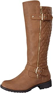 201b13c783de4 Top Moda Women's Bally-32 Knee High Quilted Faux Leather Boot