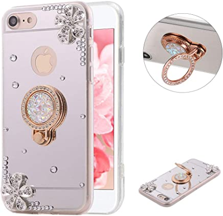 LCHDA iPhone 6 Plus 6S Plus Case Mirror Silver with Ring Kickstand Glitter Sparkle Rhinestone Diamond