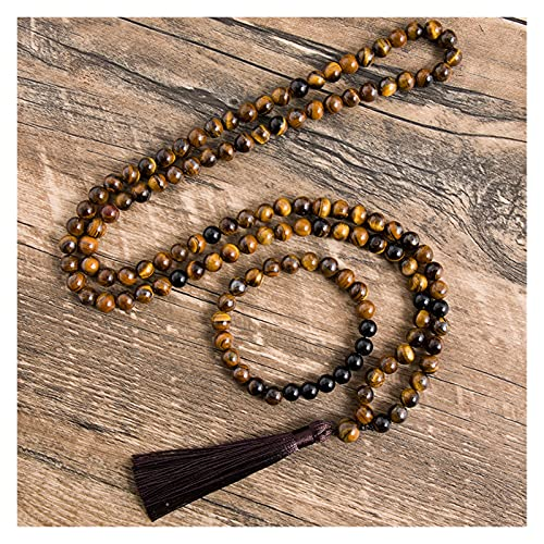 COKILU 8 mm Natural Amarillo Tigre Ojos Negro ónix Collar meditación joyería de Yoga 108 japa Mala Abalorios Pulsera Hombres y Mujeres Juegos malvados espíritu Dinero Dibujo Riqueza Fortuna