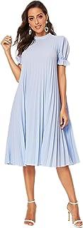 SheIn Women's Pleated Mock Neck Ruffle Short Sleeve A Line Midi Loose Dress