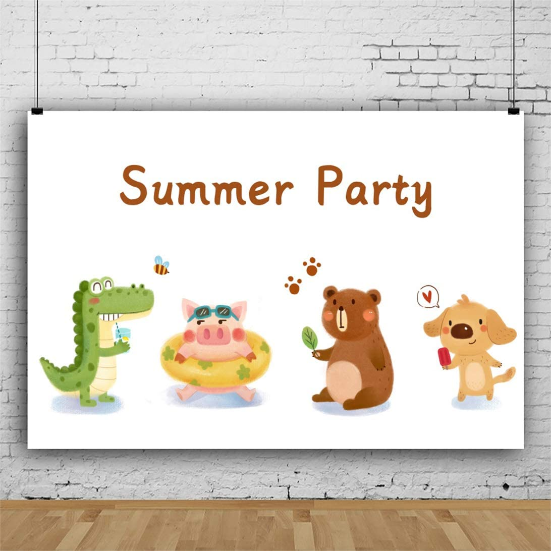 OERJU 12x10ft Summer Party Backdrop Cute Animals Crocodile Piggy Brown Bear Dog Busy Bee Photography Background Newborn Baby Shower Dessert Table Banner Kids Birthday Party Decorat Blog Shoot Prop