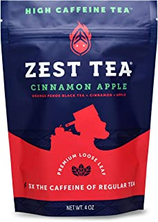 Zest Tea Premium Energy Hot Tea, High Caffeine Blend Natural & Healthy Traditional Black Coffee Substitute, Perfect for Keto, 150 mg Caffeine per Serving, Apple Cinnamon Black Tea, 4 Oz Loose Leaf