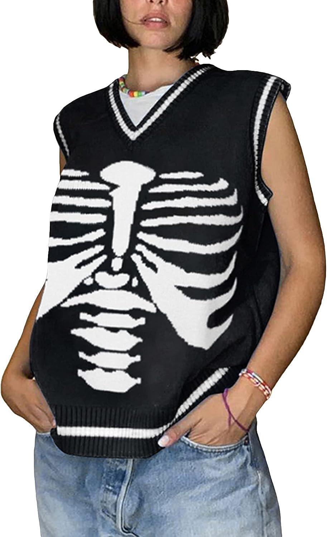 Women's Knit Sweater Vest Y2K Argyle Plaid E-Girls Preppy Style 90s Sleeveless Crop Knitwear Tank Top Streetwear