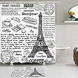 TARTINY Juego de Cortina de Ducha de2piezas con alfombras Antideslizantes,Elementos Parisinos Famosos Tradicionales Café Bonjour Croissan Torre Eiffel con 12 Ganchos,Suministros de baño