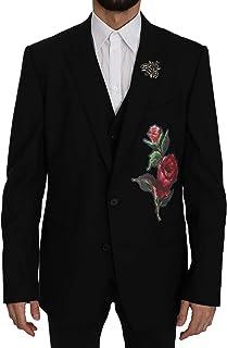 Black Wool Roses Bee 2 Piece Vest Blazer