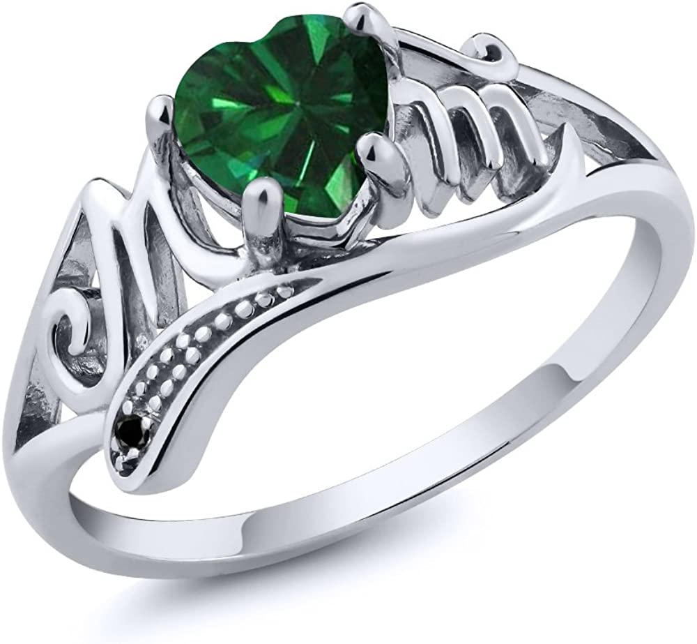Gem Stone King 0.69 Ct Heart 5 ☆ popular Simulated Black Indefinitely Shape Green Emerald