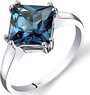 14K White Gold London Blue Topaz Princess Cut Ring 2.75 Carats Sizes 5-9