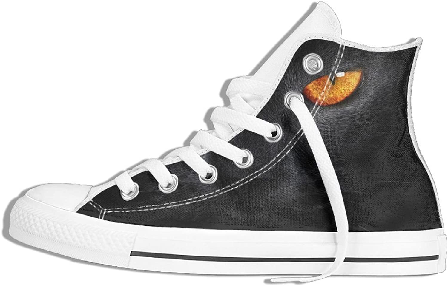 Unisex Hi-Top Canvas Sneakers Black Cat Eyes Lace Up Anti-slip Sports Trainers shoes
