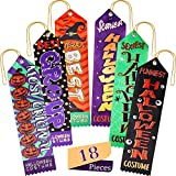 Blulu 18 Pieces Halloween Award Ribbons Halloween Party Costume Contest Award Prize Ribbons Special Award Achievement Prize for Halloween Party, 6 Patterns