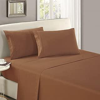 Mellanni Flat Sheet King Mocha - Brushed Microfiber 1800 Bedding Top Sheet - Wrinkle, Fade, Stain Resistant - Ultra Soft - Hypoallergenic (King, Mocha)