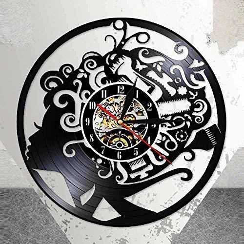 MLLL 12 Pulgadas Salón De Belleza Peluquería Reloj De Pared De Vinilo Ligero Reloj De Pared Peluquería Herramientas De Peluquería Peine Tijeras Signo De Pared De Negocios