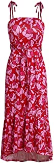 ZCLAU The New Sling Pleated Dress Loose Print Dress 22089 (Color : Red, Size : S)