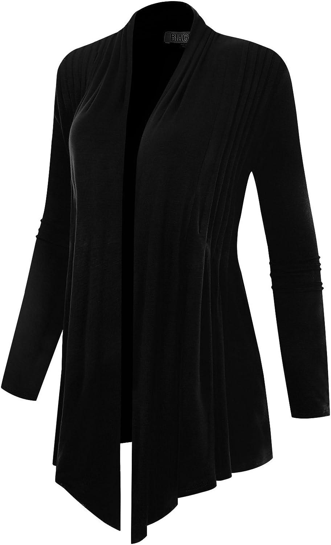 BIADANI Women's Long Sleeve Open Front Pleated Cardigan with Pockets Black Medium