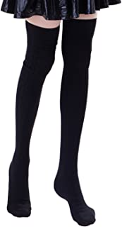 HDE Women's Stockings Solid Color Opaque Cable Knit Over The Knee Socks