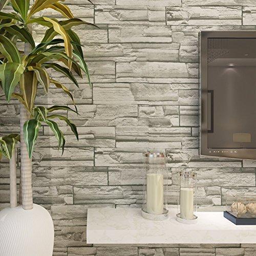HANMERO Murales de pared papel pintado imitación ladrillo piedras papel de pared dormitorios salón hotel fondo de TV color color gris,0.53M*10M