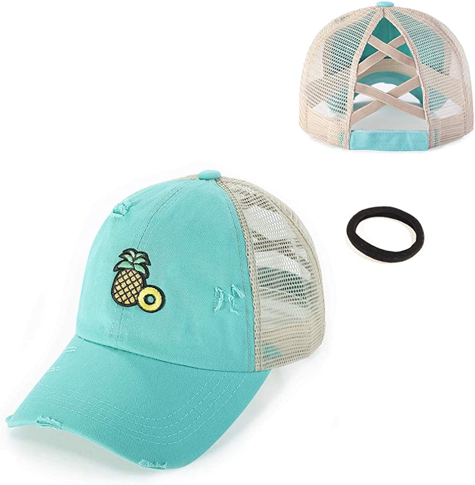 Pineapple Vintage High Ponytail Criss Cross Teal Baseball Cap Sun Hat for Women
