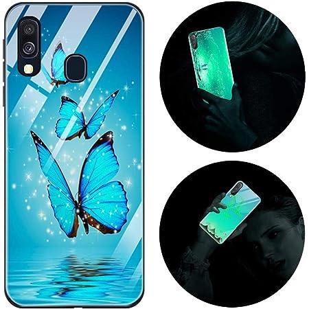 Funda Samsung Galaxy A20e, Luminosa Funda para Samsung Galaxy A20e 2019, Carcasa con Dibujo Diseño Silicona TPU y PC Trasera Cristal Proteccion Antigolpes Noctilucent Fluorescente Caja Mariposa Azul