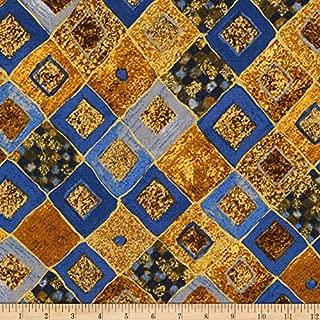 Kaufman Gustav Klimt Squares Diamonds Cobalt Metallic Fabric by The Yard