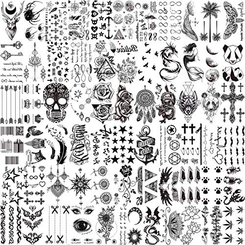 LAROI 66 Feuilles 3D Petits Noir Tatouages...