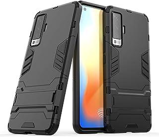 nh ケース 対応VIVO X21 ケーススリムで薄い水平キックスタンド [スクリーンプロテクターき2個付] ドロッププロテクションファッション電話ケースバンパーカバーVIVO X21用(ブラック)