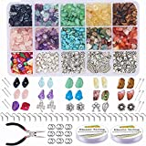 Cuentas Piedra Natural, Wuudi 933 Piezas Irregulares Piedras Colores con Gancho Pendientes Anillo Salto Línea Utiliza para Hogar Fabricación Joyas Artesanales