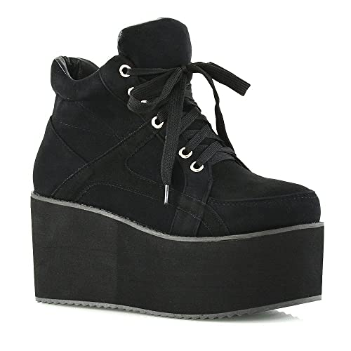 a80c28c665 LADIES CHUNKY CLEATED SOLE WOMENS PLATFORM LACE UP GOTH PUNK ANKLE BOOTS  SHOES SIZE 3 4