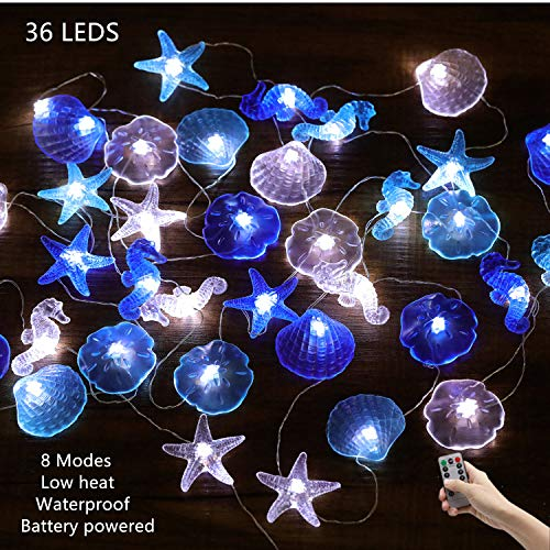 HDNICEZM Nautical Theme Decorative String Lights,Sea Sand Dollars Seahorse Beach Lights Battery Operated with Remote 12.96 ft 36 Cold White LED for Covered Outdoor Camping Wedding Birthday Party