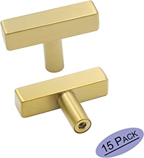goldenwarm Gold Cabinet Knobs Single Hole Furniture Hardware 15Pack - LS1212GD Brass Knobs for Bathroom Cabinets Gold Drawer Knobs Square T Bar Hardware 2