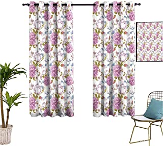 Mozenou Floral,Kitchen Curtain,Vintage Pastel Spring Scene with Hydrangea Blooms..