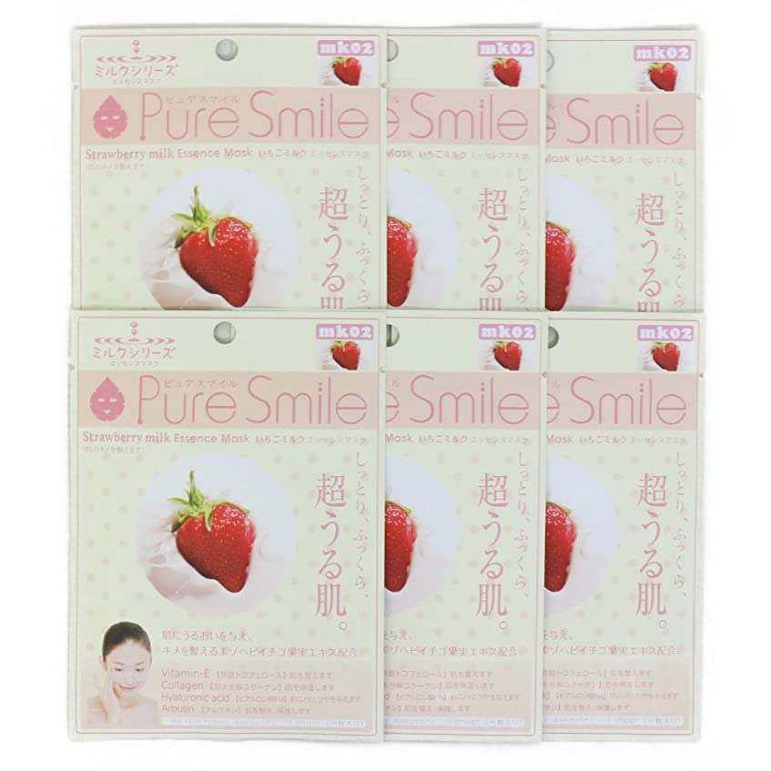 系譜彼らは公使館Pure Smile ピュアスマイル ミルクエッセンスマスク イチゴミルク 6枚セット