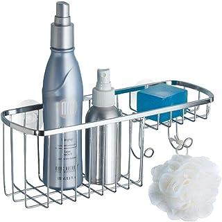 mDesign Panier de Douche en Acier Inoxydable à Suspendre – Corbeille métal avec 2 Crochets idéale pour Le shampooing, Les ...